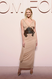 dress,nude,nude dress,nude heels,karlie kloss,model,maxi dress,celebrity,fashion week