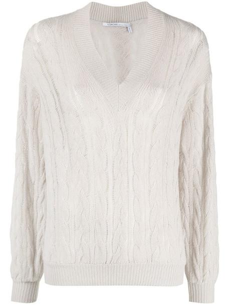 Agnona V-neck cable-knit jumper in grey