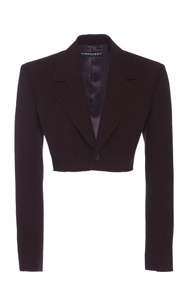 Y/Project Cropped Single-Breastd Wool-Blend Blazer Size: 34 in burgundy