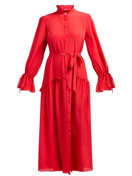 Beulah - Darsha Ruffled Silk Midi Dress - Womens - Dark Pink