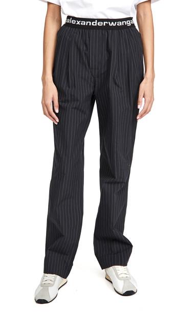 alexanderwang.t Pleated Pants with Logo Elastic Band in black / white