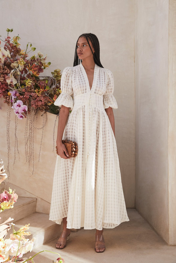Cult Gaia Willow Dress - Off White Grid                                                                                               $558.00