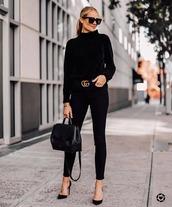 sweater,knitted sweater,black sweater,pumps,black skinny jeans,black bag,shoulder bag,gucci belt,black sunglasses