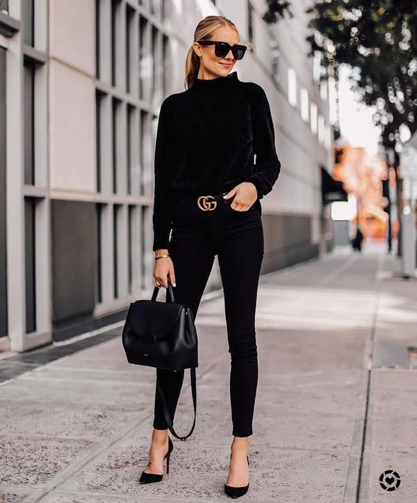 sweater knitted sweater black sweater pumps black skinny jeans black bag shoulder bag gucci belt black sunglasses