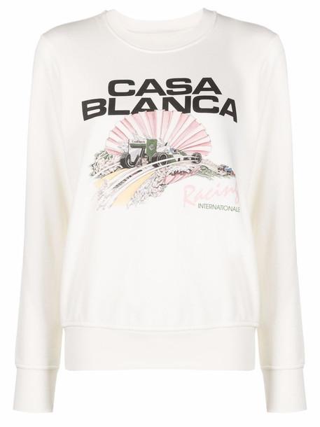 Casablanca logo-print organic cotton sweatshirt - White