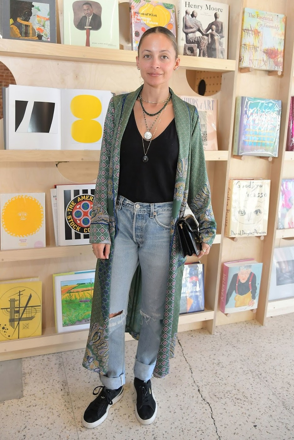 coat top jeans celebrity spring outfits nicole richie robe