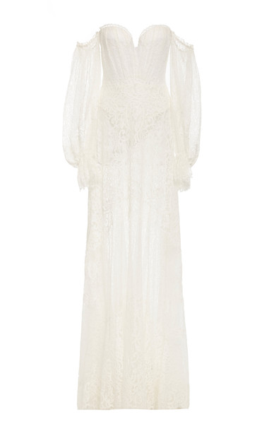 Jonathan Simkhai Corded Lace Bustier Gown in white