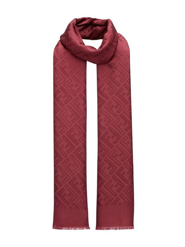 Fendi FF motif scarf in red