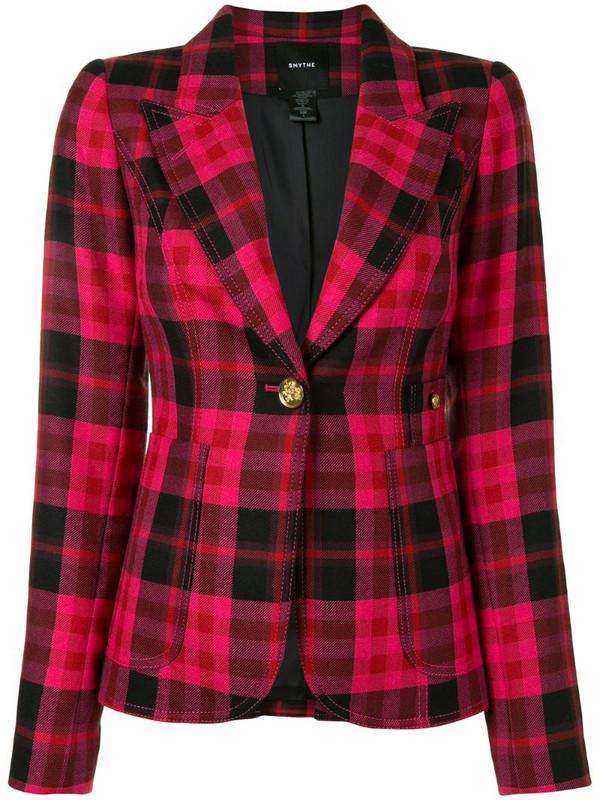 Smythe tartan check blazer jacket in pink