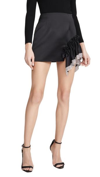 Area Duchess Crystal Trim Ruffle Miniskirt in black