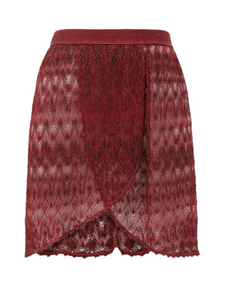 Missoni Mare - Wrap-style Lace-knit Mini Skirt - Womens - Burgundy