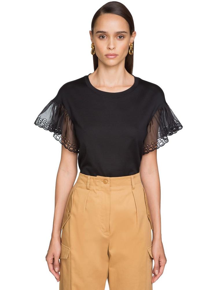 ALBERTA FERRETTI Cotton Jersey T-shirt W/organza Sleeves in black