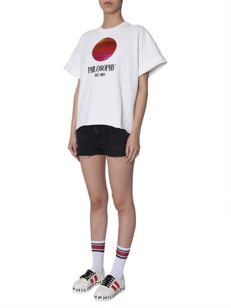 Philosophy di Lorenzo Serafini Short-sleeved Sweatshirt in bianco