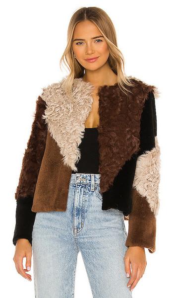ELLIATT Rapallo Fur Jacket in Brown, Cream in multi