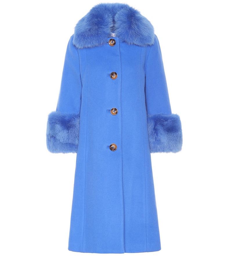 Saks Potts Yvonne fur-trimmed wool coat in blue