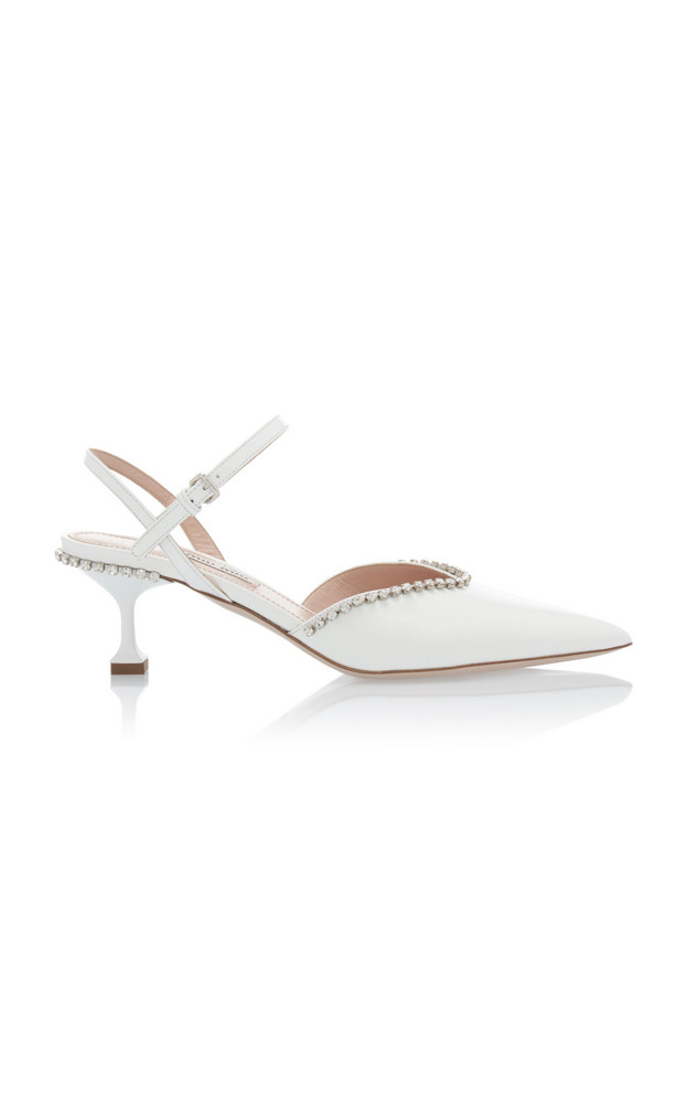 Miu Miu Embellished Patent Leather Kitten Heels Size: 35 in white