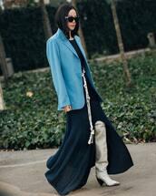 jacket,blazer,over the knee boots,white boots,chloe,maxi dress,slit dress,navy dress