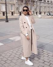 shoes,white sneakers,alexander mcqueen,long coat,camel coat,double breasted,pants,white sweater