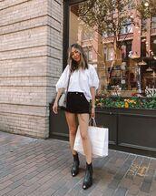 shorts,denim shorts,High waisted shorts,black boots,ankle boots,white top,blouse,shoulder bag