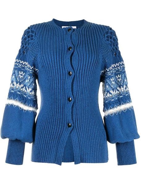 Mame Kurogouchi intarsia-knit sleeve cardigan in blue