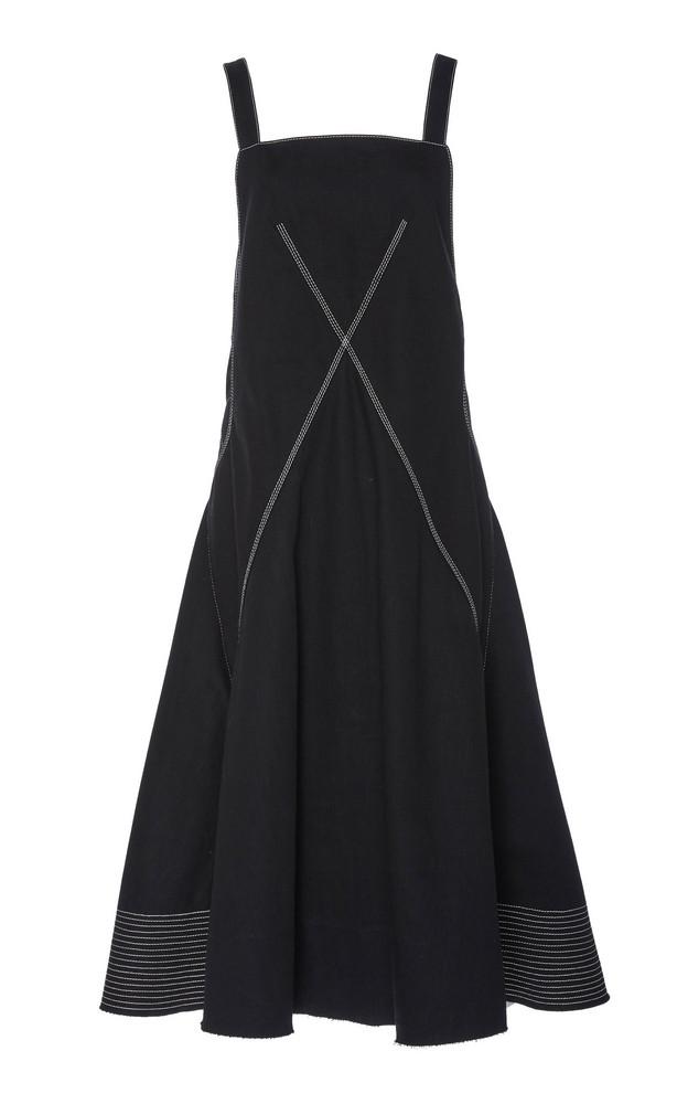 Proenza Schouler Embroidered Cotton-Twill Midi Dress in black