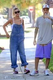 shoes,overalls,denim,hailey baldwin,justin bieber,celebrity,casual