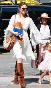 shoes,white,white dress,suede boots,chrissy teigen,celebrity,boho dress