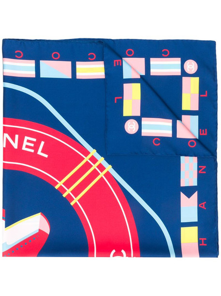 Chanel Pre-Owned CC graphic print scarf in blue