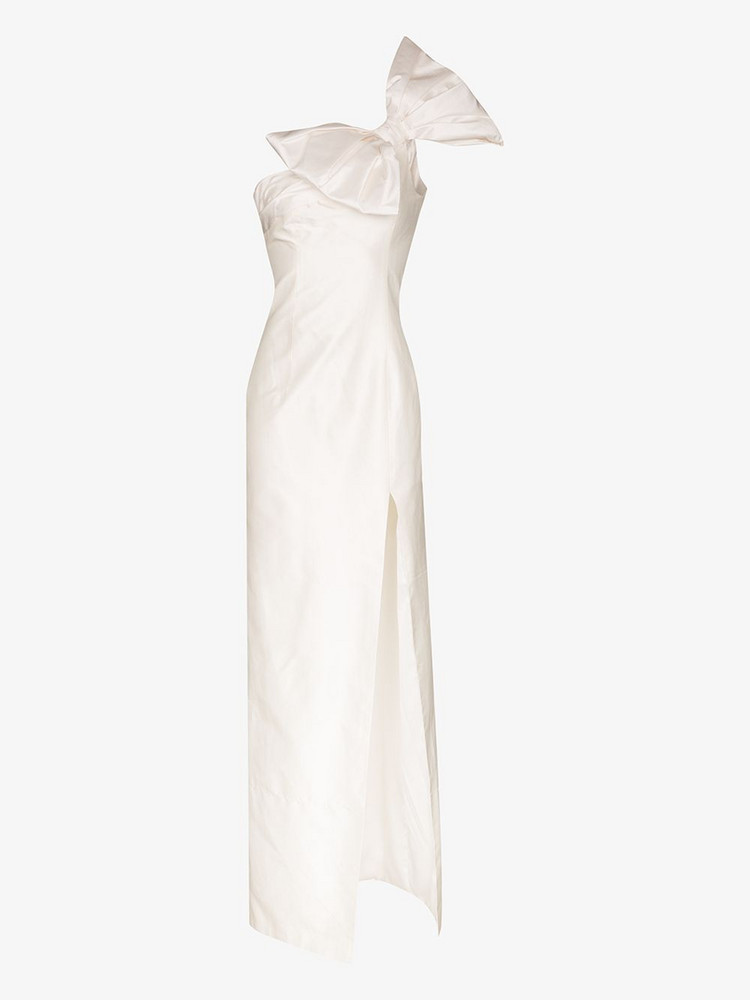 Rasario bow neck off-the-shoulder silk maxi gown in white
