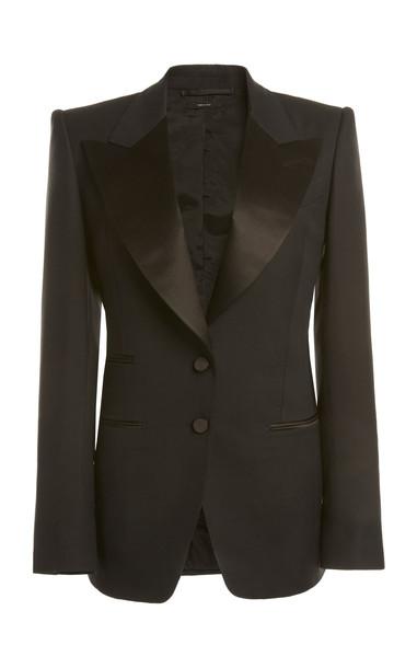 Tom Ford Satin-Lapel Wool-Blend Tuxedo Jacket in black