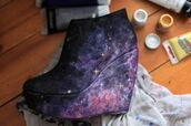 shoes,wedges,stars,purple shoes,blue shoes,pink shoes,black shoes,yellow shoes,space