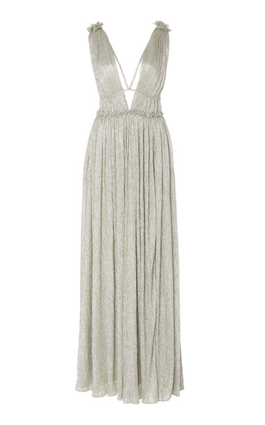 Jonathan Simkhai Plisse Lame Gown in metallic
