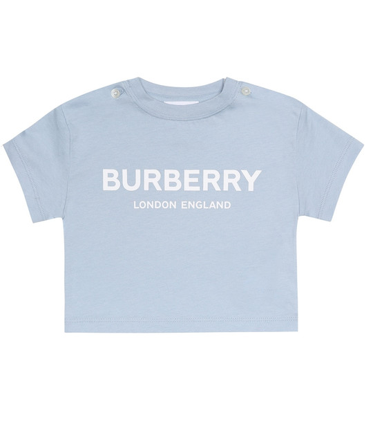Burberry Kids Baby logo cotton-jersey T-shirt in blue