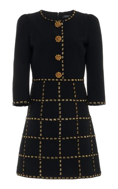 Andrew Gn Embellished Check-Detailed Crepe Mini Dress in black