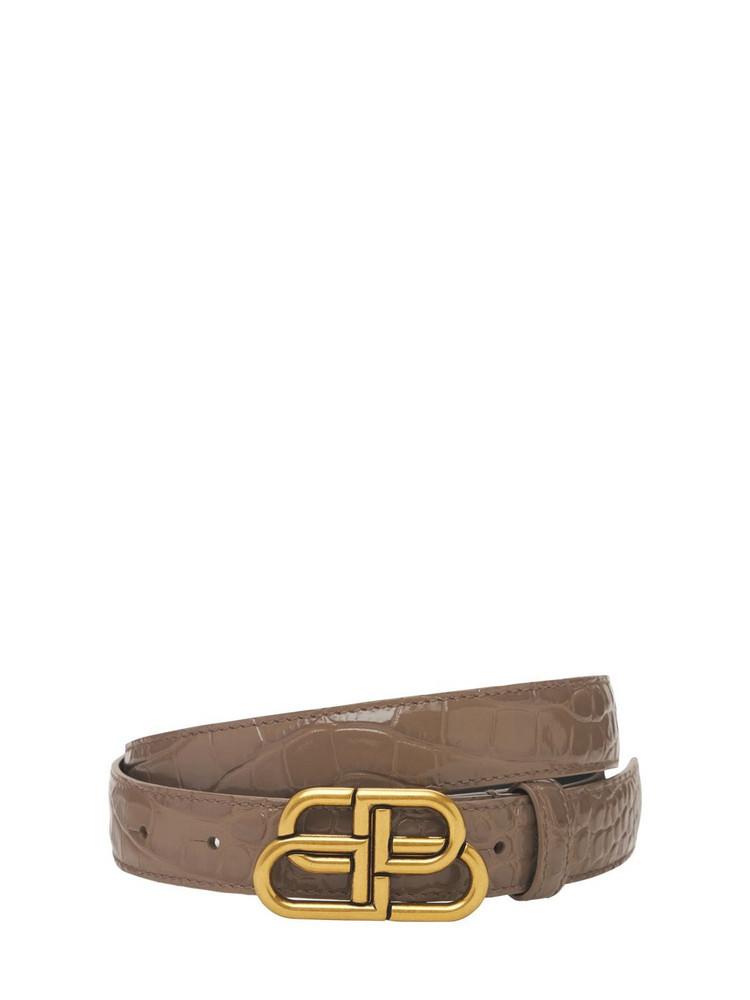 BALENCIAGA 3cm Bb Croc Embossed Leather Belt in grey