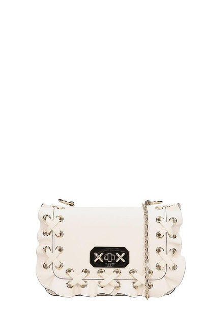 RED Valentino White Leather Small Rouche Bag