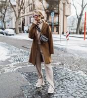 bag,dior bag,sneakers,knit,pants,turtleneck sweater,set,brown coat