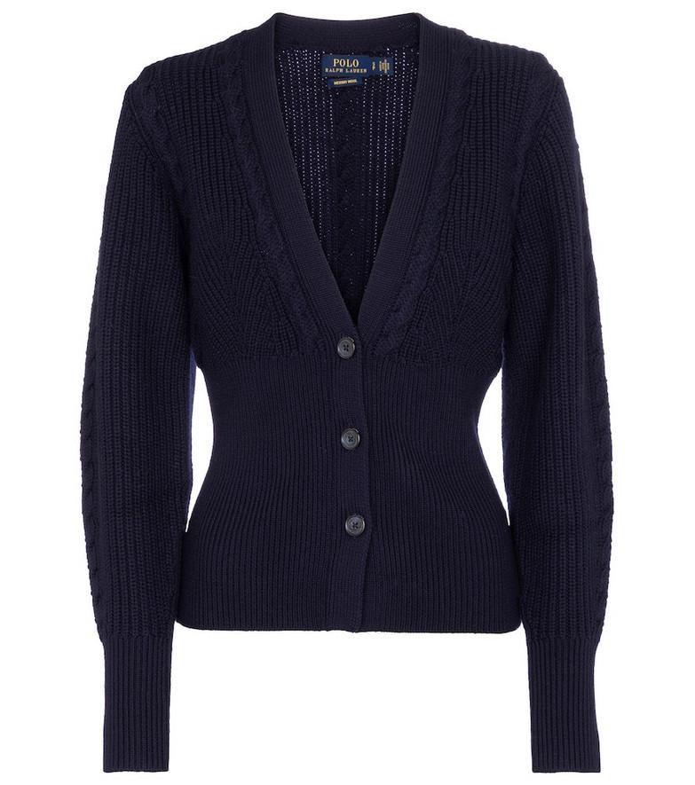 Polo Ralph Lauren Rib-knit wool cardigan in blue