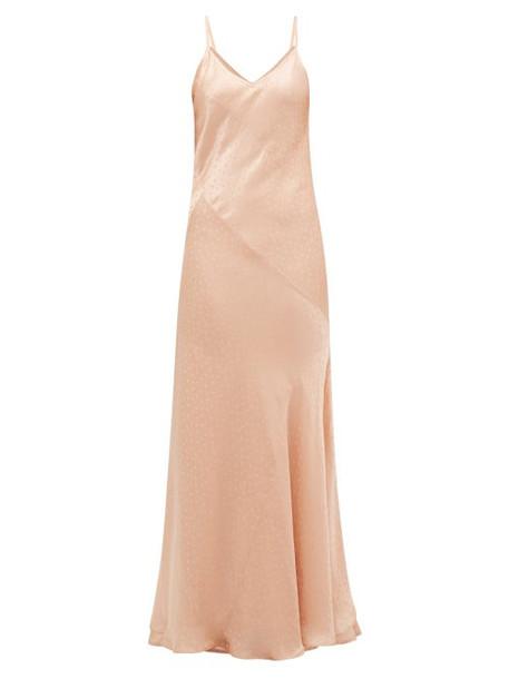 Mes Demoiselles - Sequence Polka Dot-jacquard Satin Slip Dress - Womens - Light Pink