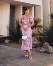 dress,midi dress,striped dress,short sleeve dress,white sandals,white bag