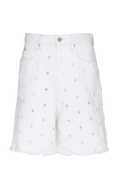 Isabel Marant Étoile Liny Distressed Denim Bermuda Shorts in white