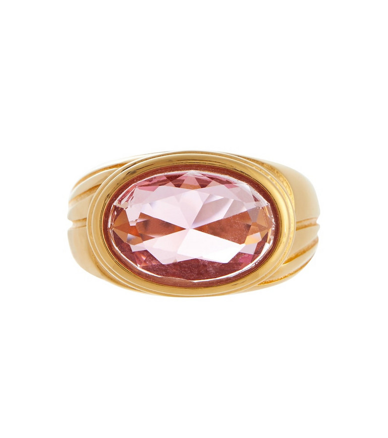 Timeless Pearly Crystal-embellished 24kt gold-plated ring