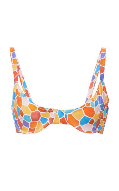 Caroline Constas Mykela Printed Bikini Top Size: S in multi
