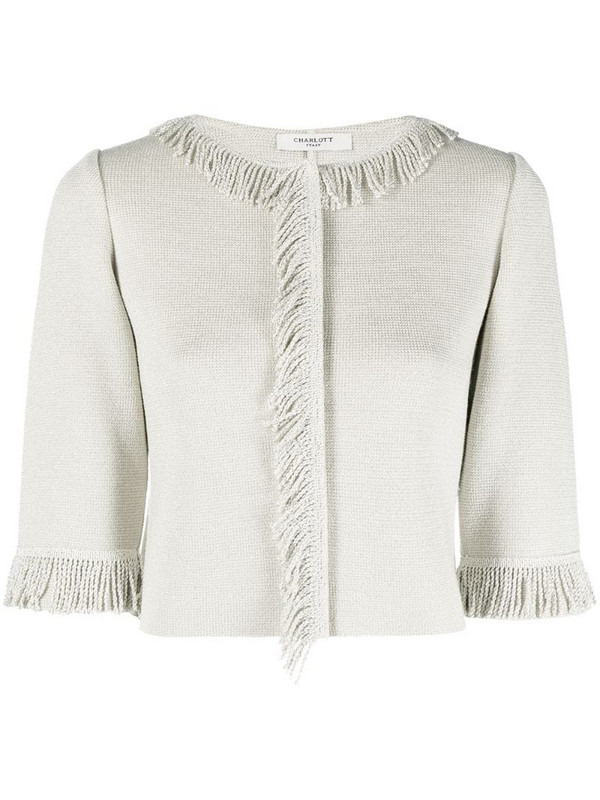Charlott fringe-embellished cropped cardigan in neutrals