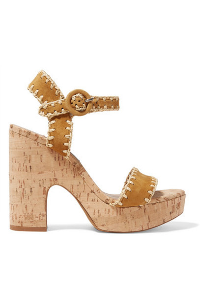 Tabitha Simmons - Elena Whipstitched Suede Platform Sandals - Tan