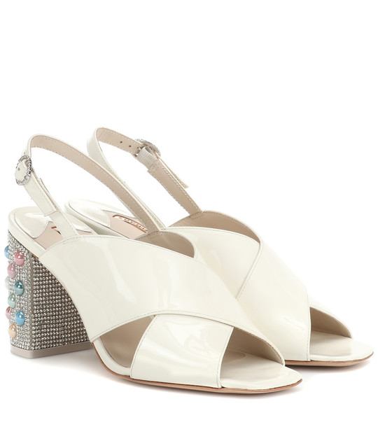 Sophia Webster Nina patent leather sandals in white