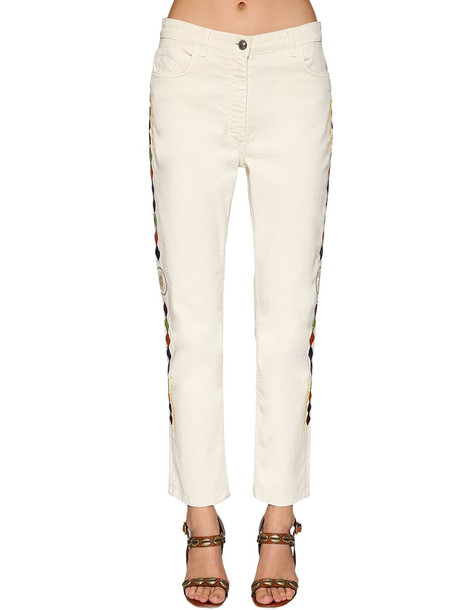 ETRO Embroidered Cotton Denim Jeans in white