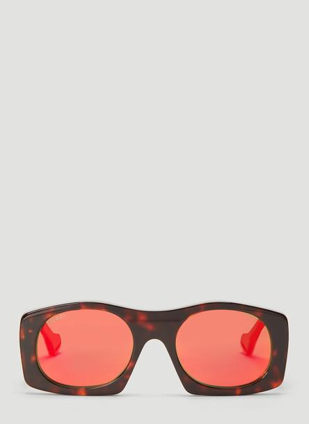 Gucci Square Acetate Sunglasses in Brown size One Size