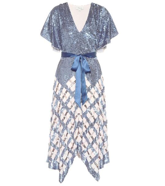 Temperley London Akiko sequined midi dress in blue