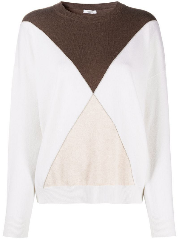 Peserico colour-block jumper in white